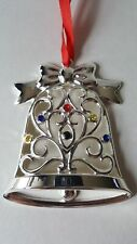 Lenox Sparkle and Scroll Multi-Crystal Bell Ornament Silverplate 851325 (Bell)