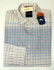 NWT $158 Tommy Bahama Long Sleeve Shirt Mens Pink White Blue Plaid Silk Cotton