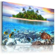 PARADISE BEACH OCEAN FISH TURTLE PALMS View Canvas Wall Art Picture L173 MATAGA