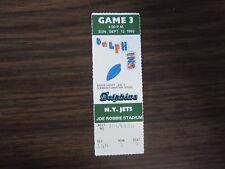 1993 Miami Dolphins Ticket Stub Sept 12, 1993 vs New York Jets 9-12-93