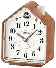 Seiko Qhp005a Wood Pattern 2 Bird Songs Bedside Analogue Alarm Clock