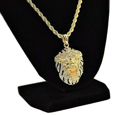 """Lion Iced-Out Black & Gold Tone Bling Pendant Hip Hop Chain 24"""" In Rope Necklace"""