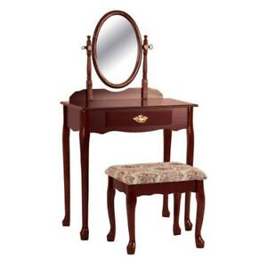 3 PC Traditional Vanity Makeup Table with Adjustable Mirror & Stool Set Cherry