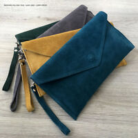 Teal Wedding Clutch Bag Evening Bag Over Size Envelope Suede Prom Made in Italy
