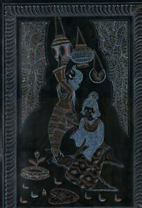 BURMESE LACQUERWARE PICTURE~HAND ENGRAVED WALL ART~LOY KRATHONG OFFERING~18 X 12