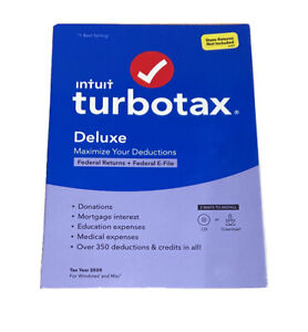 Intuit TurboTax Deluxe Tax Year 2020 Federal Return Efile for Windows Mac Sealed