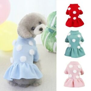 Dog Sweater Pet Cat Puppy Princess Dress Winter Warm Coat Classic Knit Clothes