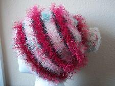 Hand knitted fuzzy striped beanie/hat with pom pom, Christmas tones