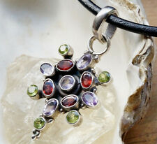 Massiv Riesig Silber Kettenanhänger Amethyst Granat Peridot Anhänger Multistone