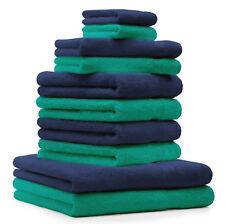 Betz lot de 10 serviettes de bain de toilette d'invité gants émeraude bleu