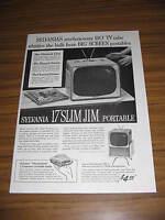 "1957 Vintage Ad Sylvania TV 17"" Portable Slim Jim Television & Thunderbird Radio"