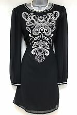Butterfly by Matthew Williamson Black Cream Embroidered Shift Evening Dress 10