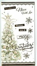 Niece Christmas Card With Festive Gold  Christmas Tree