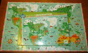 DJECO Puzzle Observation : AROUND THE WORLD 200 pc Jigsaw Puzzle Map w/ Booklet
