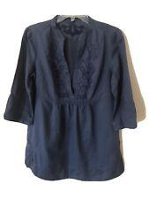 Banana Republic Blue Linen/Cotton Embroidered Tunic Blouse Size M Casual Boho