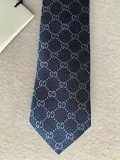 Cravatta uomo GUCCI tie silk seta 7 cm beige classic pattern blu blue GG logo
