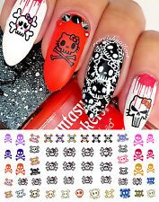 Cute Skulls Set #1 Nail Art Waterslide Decals-Monster High Style-Salon Quality!