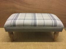 Footstool upholstered in Laura Ashley highland check steel CHOOSE YOUR LEGS