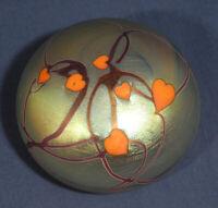 Signed SL Steve Lundberg Studios Art Glass Paperweight 1974 Iridescent Hearts