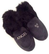 VICTORIA'S SECRET Velvet Faux Fur Lining Black Angel Logo Slide Slippers L 9/10