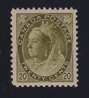 Canada Sc #84 (1898) 20c olive Queen Victoria Numeral Mint VF H