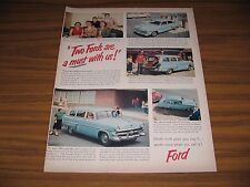 1953 Print Ad '53 Fords 4-Door & Station Wagon Blue 50's Gas Station & Pumps