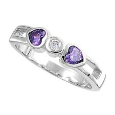 Stack Able Amethyst and Clear CZ Hearts Sterling Silver Band Ring