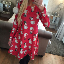 Mother & Daughter Santa Christmas Dress Women Girls Long Sleeve Xmas Swing Dress