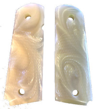 1911 Pearl grips Fits Colt Gov & Clones White Mother of Pearl Most & Checkered-