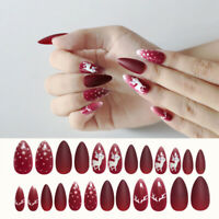 24pcs Christmas Elk False Nail Tips Artificial Fake Manicure Acrylic Nails Art