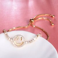 18k yellow gold gf made with SWAROVSKI crystal happy face Emoji chain bracelet