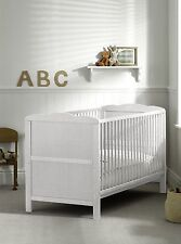 New White Cot Bed 120x60cm, Cotbed Deluxe Mattress-Convertable to Junior Bed