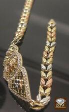 "Women's 10K Trio colored Gold ID Virgin Mary Miami Cuban Bracelet 7.5""  5.3Gram"