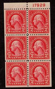 US Booklet Pane, 2c George Washington, Sc# 554c, w/P#