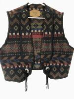 Vintage Woolrich Wool Blanket Vest Size XL Conchos Southwest Aztec USA