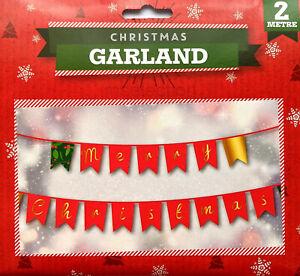 Christmas Garland Banner Hanging Decoration Gold Red Green Mistletoe