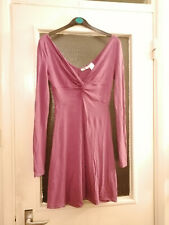La Redoute Purple Dress with Twist and Low V Neckline - Size 4/6