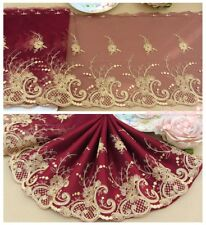 "8.5""*1Y Embroidered Floral Tulle Lace Trim~Wine Red+Gold~Forever Legend~Gorgeous"