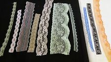 lace trimmings. Job lot.10 designs,10 mt each design. mix colours 100 mt total