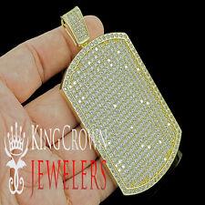 14K YELLOW GOLD FINISH JUMBO BIG ICY CUSTOM XL DOG TAG CHARM PENDANT LAB DIAMOND