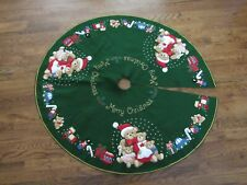 Bucilla Felt Merry Christmas Tree Skirt with Bears and Toys