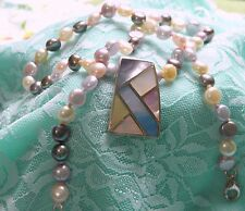 Vintage Freshwater Pearl Mother of Pearl Necklace Pendant GSJ