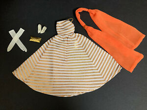 GLAMOUROUS VTG 1965-66 BARBIE GOLD STRIPE HOLIDAY DANCE OUTFIT