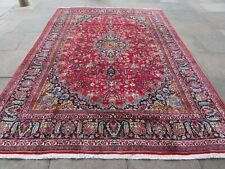 Vintage Hand Made Traditional Oriental Wool Red Blue Large Carpet 335x240cm