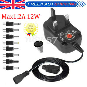 Max1.2A 12W UK Plug Adjustable AC to DC3V-12V Multi Voltage Power Supply Adapter
