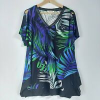 Virtuelle Taking Shape Sz XXS 12 Green Palm Print Stretch Short Sleeve Top Tunic