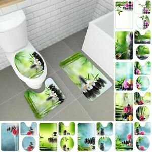 Badgarnitur 3-Teilig Set Bambus Badematte Bad Toilette Vorleger WC Badteppich