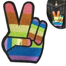 Rainbow Peace Victory hand gesture iron on patch Equal love win winning patches