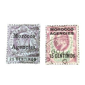 GREAT BRITAIN, MOROCCO AGENCIES, SCO. # 30+36(2), 25c+15c. VALUES 1905-10  USED