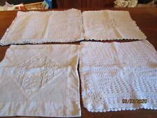 lot de 5 housses de coussins crochet et coton, creme clair et blanc